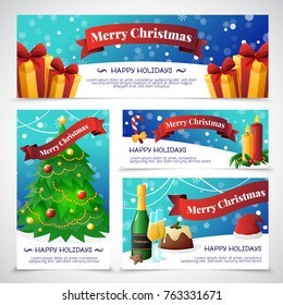 Flat design christmas party invitation cards with congratulations isolated on grey background  illustration
