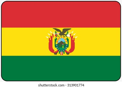 A Flat Design Flag Illustration with Rounded Corners and Black Outline of the country of Bolivia