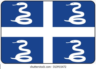 A Flat Design Flag Illustration with Rounded Corners and Black Outline of the country of Martinique