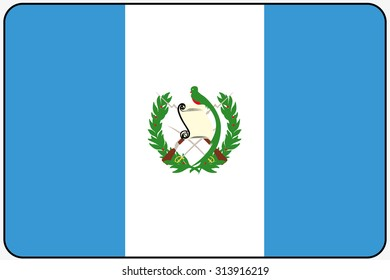 A Flat Design Flag Illustration with Rounded Corners and Black Outline of the country of Guatemala