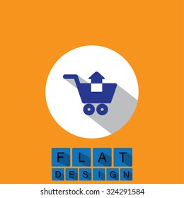 flat design icon of removing items shopping cart . This graphic can also represent purchase of items on internet, virtual shopping