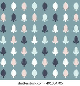 Flat design illustration of Christmas tree silhouettes in a pattern./Christmas tree silhouettes