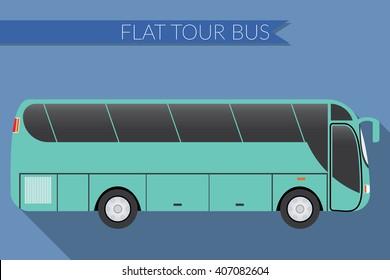 Flat design illustration city Transportation, Bus, intercity, long distance tourist coach bus, side view