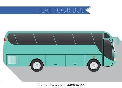 Flat design illustration city Transportation, Bus, intercity, long distance tourist coach bus, side view .