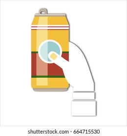 Flat design  illustration concept for Oktoberfest. Hand hold beer can
