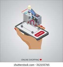 flat design illustration concepts of online shopping