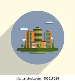 Flat design modern illustration icon of urban landscape and city life