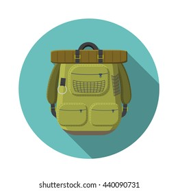 Flat design modern illustration of tourist backpack icon, camping and hiking equipment with long shadow.