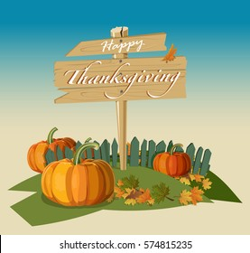 Flat design style. Happy Thanksgiving Day. Wooden sign. Autumn