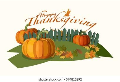 Flat design style. Happy Thanksgiving Day. Autumn
