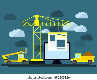 Flat design of website under construction, web page building process, site form layout of Web Development.