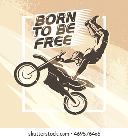 Flat dynamic extreme sport illustration. Moto free style rider silhouette. Motorcycle icon. Rider portrait. Motorcycle logo design. Human figure. Light effect, grunge texture background.