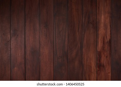 Flat empty wooden surface with dark brown color plank