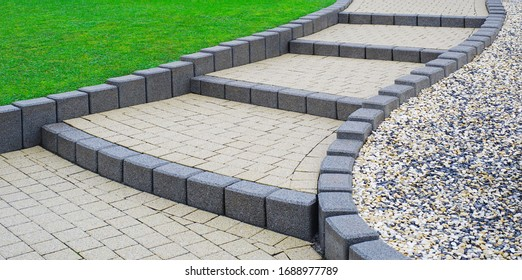Flat external stairs Garden stairs made of concrete block paving