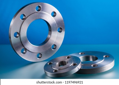 Flat flanges, set of steel welding fittings.