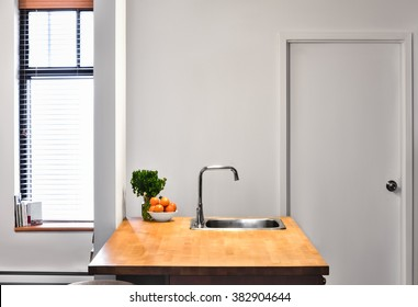 Flat Gray Wall Flat Perspective and a Kitchen Island.