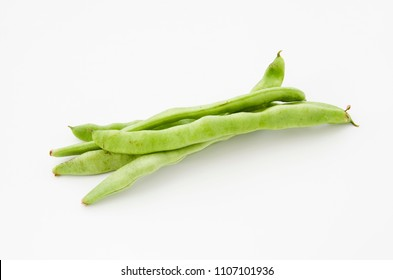 Flat green beans isolated on white background