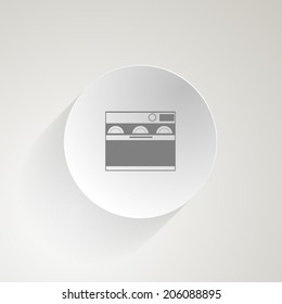 Flat icon for dishwasher. Circle gray icon with outline dishwasher