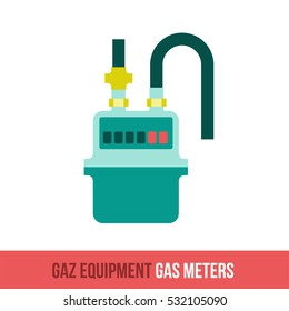 Flat icon gas meter. Household appliances for the kitchen, gas supply, water supply modern home. Web graphics, banners, business templates. Isolated on a white background.