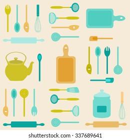 Flat icon illustration of assorted kitchen utensils./Kitchen Utensils