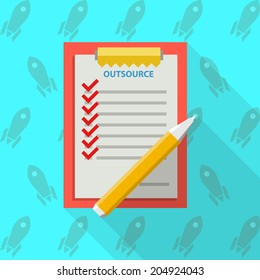 Flat illustration of clipboard for outsource. Red clipboard with some list for outsource with red marks and yellow pen. Flat illustration on blue background with rockets.