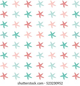 Flat illustration of colorful starfish on a white background./Starfish Pattern