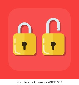 Flat image of an open and closed padlock. Illustration isolated on a colored background