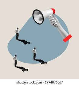 Flat isometric view of businessmen and woman with male hand with megaphone. Office items concept. Business processes, workplace concepts. Miniature people. Collage