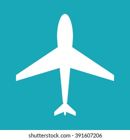 Flat jumbo jet plane icon. Airport sign, symbol. Airplane logo. Aircraft pictogram.