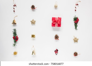 Flat lay aerial image of accessories Merry Christmas & Happy new year white background concept.Essential beautiful decorations & ornaments arrangement on backdrop.Items for the winter season.