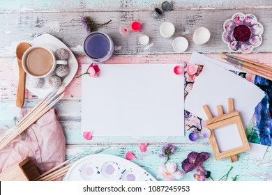 Flat lay Art designer workspace . Creative top view with copy space