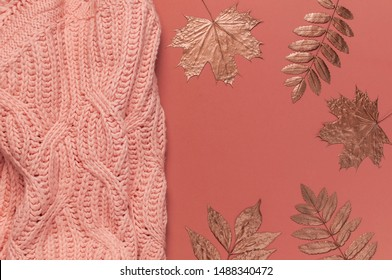 Flat lay autumn composition. Knitted woolen pink female sweater or plaid, golden dry leaves on burgundy brown background top view copy space. Fall concept. Fashion color, cozy autumn thing, clothes