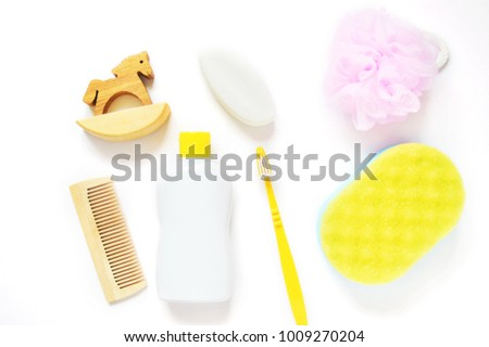 261d56188d34 Flat Lay Baby Bath Products Kit Stock Photo (Edit Now) 1009270204 ...