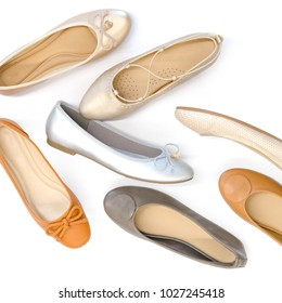 flat lay ballerina, flats shoes isolate on white background.