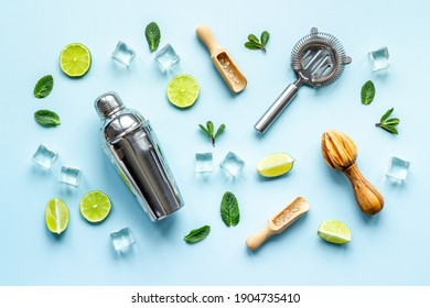 Flat lay of bar accessories and ingredients for mojito cocktail