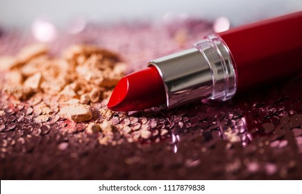 flat lay beautiful modern luxury minimal cosmetic makeup lipstick