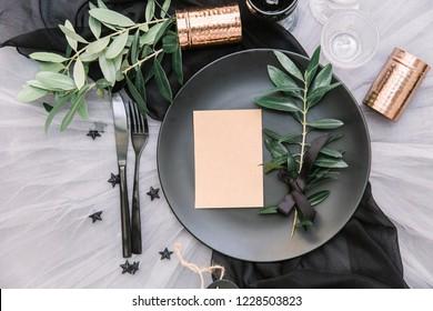 Flat lay boho wedding invitation card. Beautiful rustic wedding event table set up with decoration