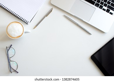 Flat lay Business workplace and objects. Top view. Copy space for text