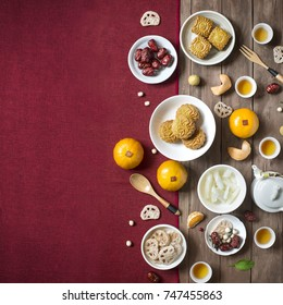 Flat lay Chinese New Year food and drink still life. Text appear in image: Lotus seed.