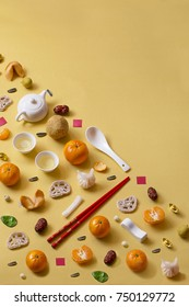 Flat lay Chinese new year food and drink still life text space image.
