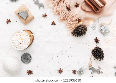 Flat lay Christmas, New Year white composition with decorations Winter holiday .Top view. Copy space
