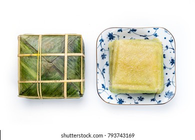 Flat Lay for Chung cake. Cooked square glutinous rice cake / Vietnamese new year food