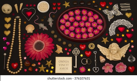 flat lay collage collection of love theme items. amor vincit omnia. love conquers all.