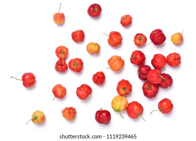 Flat lay of colorful Acerola cherry on white background, Top view