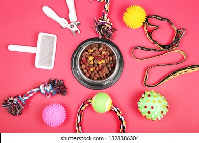 Flat lay composition with accessories for dog and cat, toys, dry food, dog biscuits, cookies, brushes, hairbrushes, balls, collar on red background. Pet food.