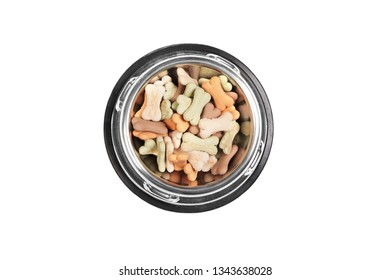 Flat lay composition with accessories for dog and cat, toys, dry food, dog biscuits, cookies isolated on white background.  Copy space.
