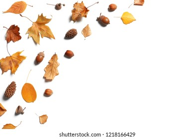 Flat lay composition with autumn leaves and space for text on white background