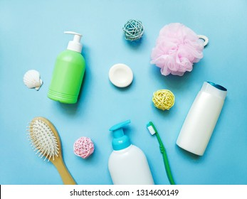 Flat lay composition beauty still life photography. Cosmetics and bath products for personal care. Shampoo. liquid soap, toothbrush, hairbrush, sponge