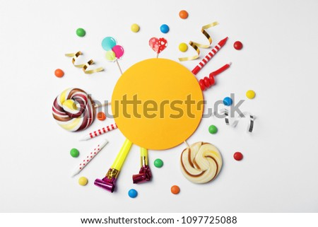 Flat Lay Composition Birthday Party Items Stock Photo Edit Now