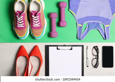 Flat lay composition with business items and sport accessories on color background. Concept of balance between work and life